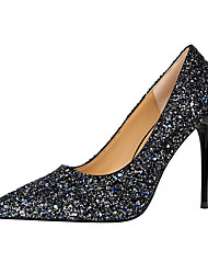 Women's Heels Comfort Novelty Glitter Spring Summer Fall Winter Wedding Party & Evening Walking Sequin Stiletto HeelBlack Silver