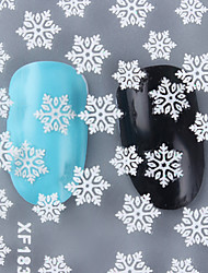 cheap -1 Sheet Christmas 3D Nail Stickers White Snowflake Pattern Nail Art Manicure Decoration XF183