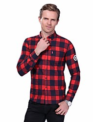 Men's Plus Size Korean Slim Plaid 100% Cotton Long Sleeve Shirt