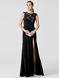 Sheath / Column Jewel Neck Floor Length Chiffon Formal Evening Dress with Appliques Split Front by TS Couture®
