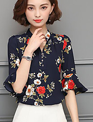 Women's Casual/Daily Simple Blouse,Print V Neck Half Sleeves Others