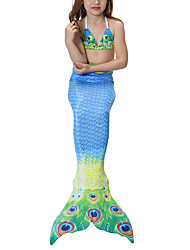 Princess Mermaid Tail Fairytale Swimwear Bikini Kid Girls Halloween Carnival Children's Day Festival / Holiday Halloween Costumes Blue