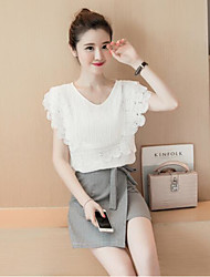 Women's Going out Casual/Daily Simple Summer Shirt Skirt Suits,Solid Round Neck Short Sleeve Lace