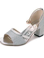 Damen High Heels Pumps Leinen PU Sommer Kleid Party & Festivität Walking Perle Schnalle Block Ferse Gold Silber 12 cm & mehr