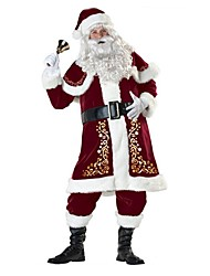 cheap -Santa Suit Santa Claus Outfit Male Adults' Christmas Festival / Holiday Halloween Costumes Red Vintage