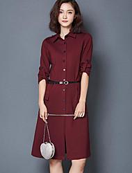 Women's Casual/Daily Shirt Dress,Solid Shirt Collar Knee-length Half Sleeves Cotton Summer High Rise Inelastic Thin