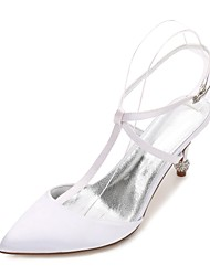 cheap -Women's Shoes Satin Spring / Summer Ankle Strap / Basic Pump / Comfort Wedding Shoes Cone Heel / Low Heel / Stiletto Heel Pointed Toe