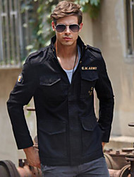 Men's Casual/Daily Simple Spring Fall Jacket,Letter Stand Long Sleeve Regular Cotton