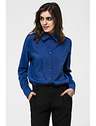 cheap -Women's Going out Street chic Shirt - Solid Colored Shirt Collar / Spring / Fall