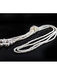 cheap -Women's Imitation Pearl Statement Necklace  -  Tassel White Necklace For Wedding Party Halloween