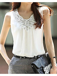 Women's Casual/Daily Simple Blouse,Solid Round Neck Sleeveless Polyester
