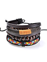 cheap -Men's Women's Leather Bracelet Jewelry Love Fashion Personalized Rock Two-tone Gothic Simple Style Costume Jewelry Leather Circle