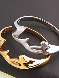 Недорогие -Муж. Жен. Браслет цельное кольцо Браслет разомкнутое кольцо - Титановая сталь, Серебрянное покрытие, Позолота металлический, На заказ, Геометрия, Открытые, Bling Bling Браслеты Бижутерия