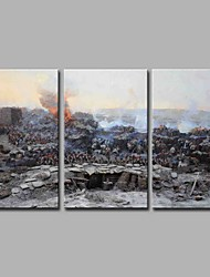 cheap -Oil Painting Hand Painted - Famous Modern / Contemporary Canvas Three Panels