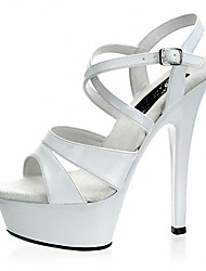 cheap -Women's Sandals Formal Shoes Summer PU Dress Party & Evening Satin Flower Buckle Stiletto Heel White Black 5in & over