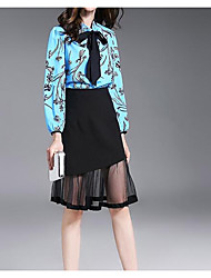 Women's Casual/Daily Simple Summer Blouse Skirt Suits,Solid Stand Long Sleeve