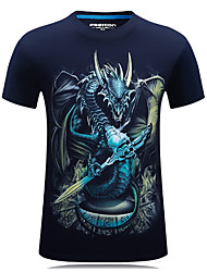 Hot Sale High Quality M-6XL Men's Sports Plus Size CasualSimple Active T-shirtAnimal Print Round Neck Short Sleeves With Dragon Print Tops