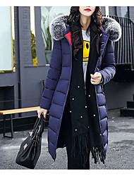 Manteau Rembourré Femme,Longue simple Mignon Sexy Sortie Décontracté / Quotidien Travail Couleur Pleine Imprimé-Coton Acrylique Polyester
