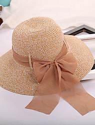 baratos -Mulheres Chapéu De Palha Chapéu de sol - Laço Côr Pura Sólido