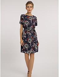 abordables -Mujer Tallas Grandes Trabajo Recto Vestido Floral