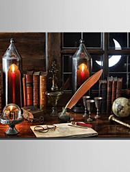 E-HOME® Stretched LED Canvas Print Art Old Desk LED Flashing Optical Fiber Print One Pcs
