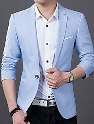 cheap -Men's Plus Size Slim Blazer - Solid Colored, Pure Color Notch Lapel