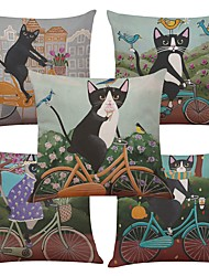 Set of 5 Cycling Cat  Linen Cushion Cover Home Office Sofa Square Pillow Case Decorative Cushion Covers Pillowcases Without Insert(18*18Inch)