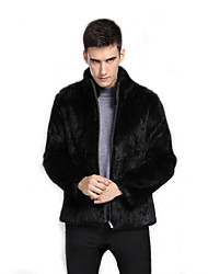 Men's Party Casual/Daily Work Club Simple Vintage Fall Winter Fur Coat,Solid Stand Long Sleeve Regular Faux Fur Cotton Fur Trim