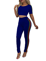 cheap -Women's Sports Going out Running Casual Street chic Spring Summer T-shirt Pant Suits,Color Block Simple Round Neck Short Sleeve Polyester