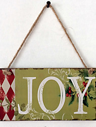 cheap -European and American wooden Christmas JOY is listed for Christmas Eve wooden hanging board