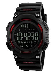 abordables -SKMEI Hombre Reloj Deportivo Reloj digital Digital Calendario Resistente al Agua Cronómetro Noctilucente PU Banda Negro