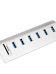 Rocketek USB HUB High Speed Aluminum Usb 3.0 Hubs 6 Port Power Interface with TF SD Card Reader for iMac MacBook Air Laptop PC USB3-6P-C2-US