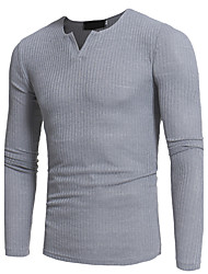 cheap -Men's Weekend Long Sleeves Slim Long Pullover - Solid Colored Round Neck