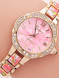 Women's Fashion Bracelet Watch Quartz Rhinestone Colorful Plastic Band Flower Casual