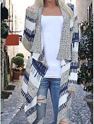 Women's Daily Regular Cardigan,Striped Shirt Collar Long Sleeves Cashmere Winter Fall Medium Micro-elastic