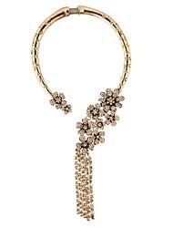 Mulheres Colares Declaração Imitação de Diamante LigaGeométrico Bijuterias Destaque Elegant Bling Bling Floral Metálico Moda Estilo
