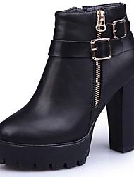 baratos -Mulheres Sapatos Couro Ecológico Inverno Outono Coturnos Botas Salto Baixo Dedo Apontado Botas Cano Médio Ziper para Casual Preto Vermelho