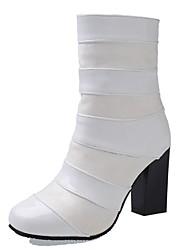 Feminino Sapatos Courino Outono Inverno Botas da Moda Botas Salto Grosso Ponta Redonda Botas Curtas / Ankle Presilha Ziper Para Casual