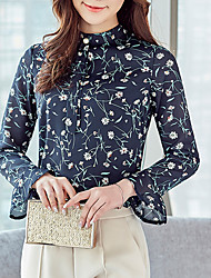 Women's Going out Casual/Daily Simple Cute Fall Winter Blouse,Floral Stand Long Sleeves Polyester Medium