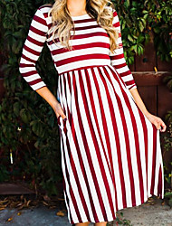 cheap -Women's Daily Going out Street chic Swing Dress,Striped Round Neck Maxi 3/4 Length Sleeves Cotton Fall Mid Rise Inelastic Medium