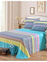 Comfortable Poly/Cotton Flat Sheet Plain Stripe