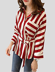 Women's Casual/Daily Sexy Fall Blouse,Striped Shirt Collar Long Sleeves Cotton Polyester Medium