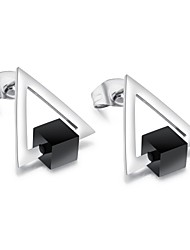 The new south Korean version can rotate the black square triangle earnail girl jewelry titanium steel anti-allergic earrings