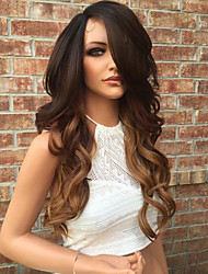 cheap -Human Hair Lace Front Wig Brazilian Hair Wavy Layered Haircut 130% Density With Baby Hair Glueless Natural Hairline Ombre Hair 10 inch 12