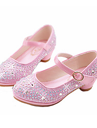 cheap -Girls' Shoes Synthetic Microfiber PU Winter Fall Flower Girl Shoes Novelty Comfort Flats Rhinestone Buckle for Casual Dress Gold Silver