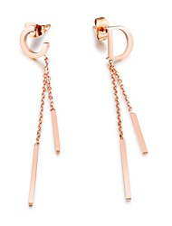 Manufacturer's direct selling style of the English CD letter of the two sides of the two sides of the su-tinged titanium steel rose gold earrings acce
