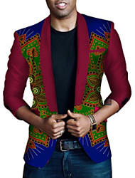Men's Casual/Daily Boho Fall Blazer,Print Peaked Lapel Long Sleeve Regular Others
