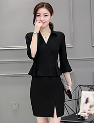 Women's Work Sheath Dress,Solid V Neck Above Knee Short Sleeves Polyester Summer Mid Rise Micro-elastic Thin