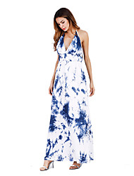 Women's Party Daily Beach Holiday Going out Vintage Casual Sexy Loose Swing Dress,Floral Halter Maxi Sleeveless Rayon Summer All Seasons