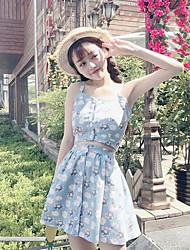 Debardeur Jupe Costumes Femme,Fleur Décontracté / Quotidien simple Eté Sans Manches Coeur